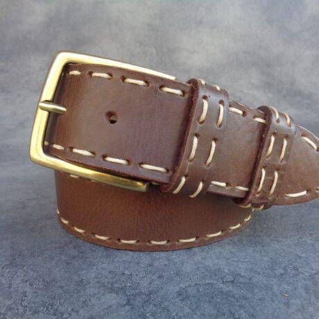 cintura marrone bordata
